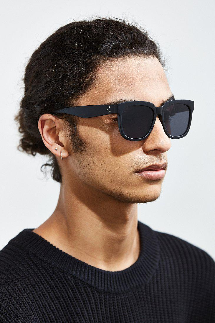 7343ada6b8f Lyst - Urban Outfitters Uo Flat Lens Squared Sunglasses in Black for Men