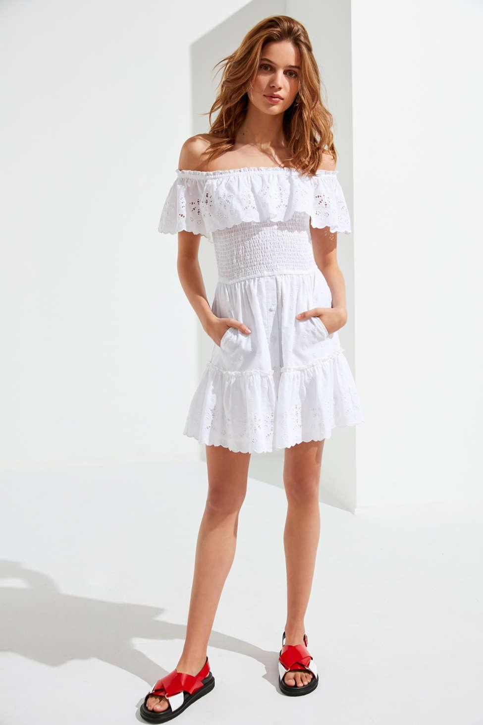 f6e4e1f1e7 Lyst - RahiCali Off-the-shoulder Eyelet Mini Dress in White