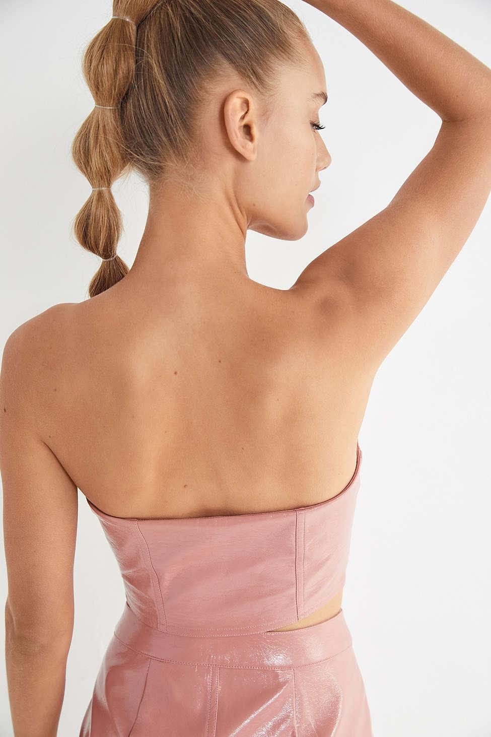 c8865ccbcc Lyst - Urban Outfitters Uo Selena Zip-front Patent Bustier Top in Pink