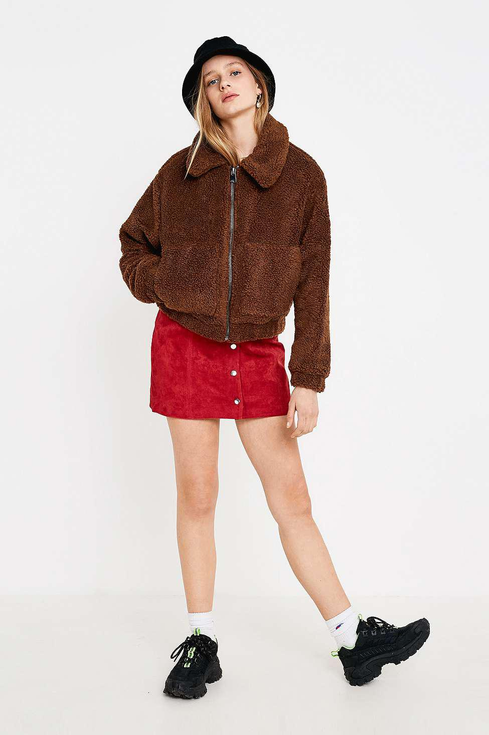 Urban Outfitters Uo Brown Cropped Teddy Jacket Womens Xs In Brown