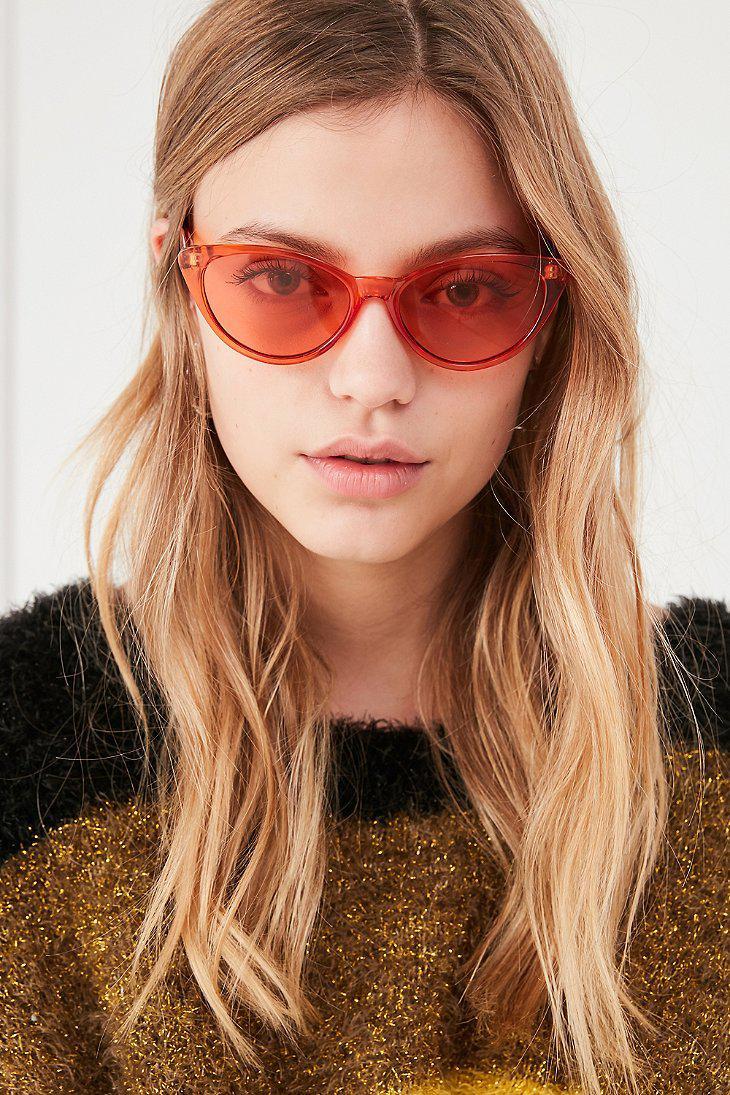 6309be309 Urban Outfitters Slim Retro Cat-eye Sunglasses in Orange - Lyst