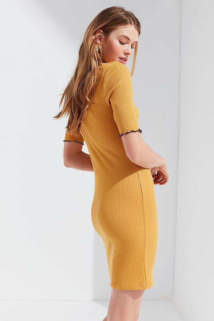 63718b64e6de Urban Outfitters Uo Shelly Lettuce-edge Turtleneck Dress in Yellow ...