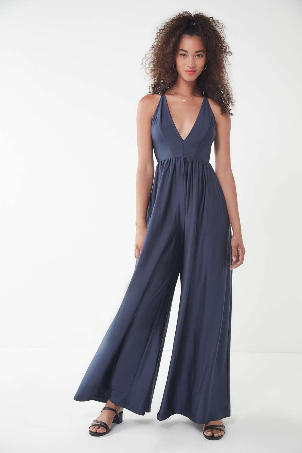 e863bbe7af1 Lyst - Urban Outfitters Uo Gia Plunging Shimmer Jumpsuit in Blue