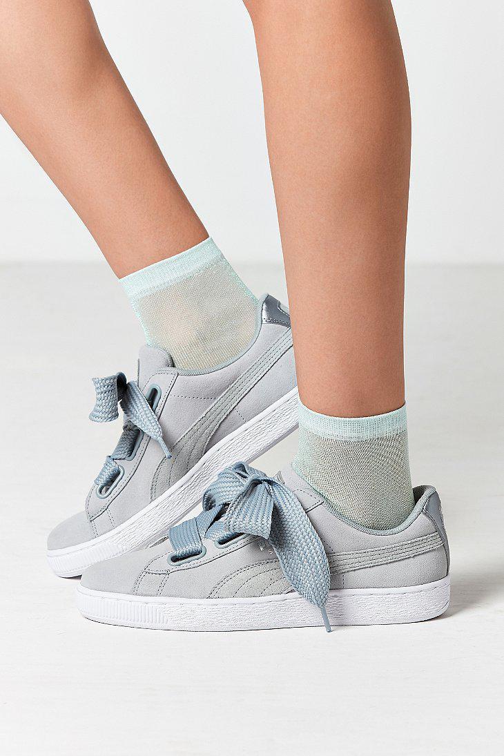 9c530b4c125f8f Lyst - PUMA Basket Heart Metallic Safari Sneaker in Gray