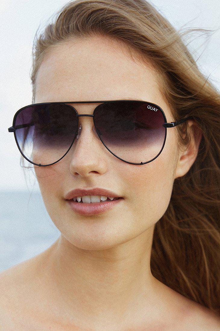 22fe656221 Quay X Desi Perkins High Key Aviator Sunglasses in Black - Lyst