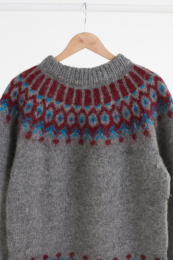 Urban outfitters Vintage Charcoal Grey Fair Isle Ski Sweater in ...