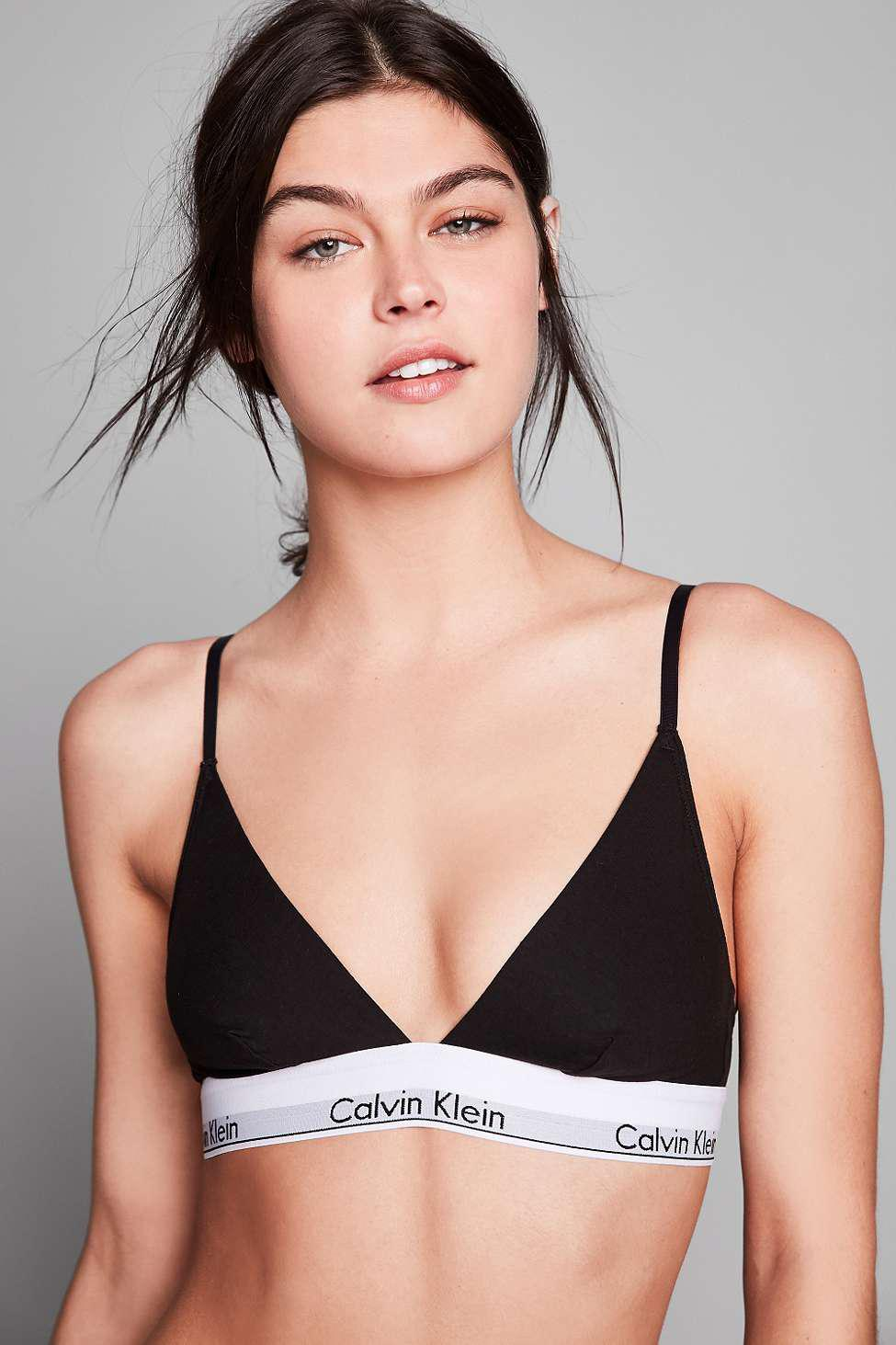0127606a67 Calvin Klein - Modern Cotton Black Triangle Bra - Lyst. View fullscreen