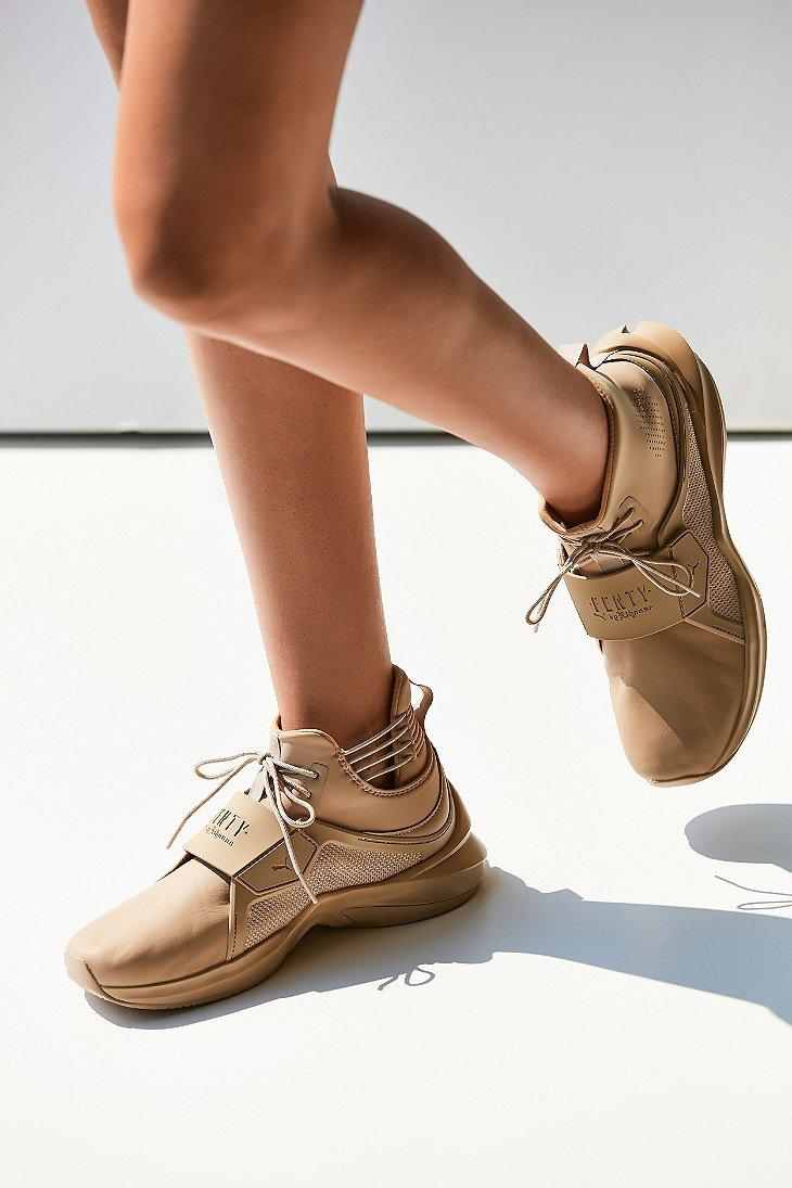 afb860f68dd6 ... sale lyst puma fenty by rihanna trainer hi leather sneaker in natural  49e24 2ce11