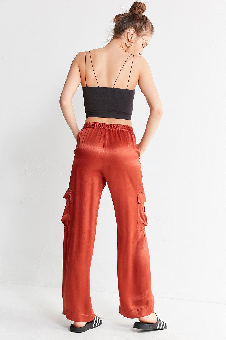 273679ebbd Lyst - Urban Outfitters Uo Satin Cargo Puddle Pant in Red