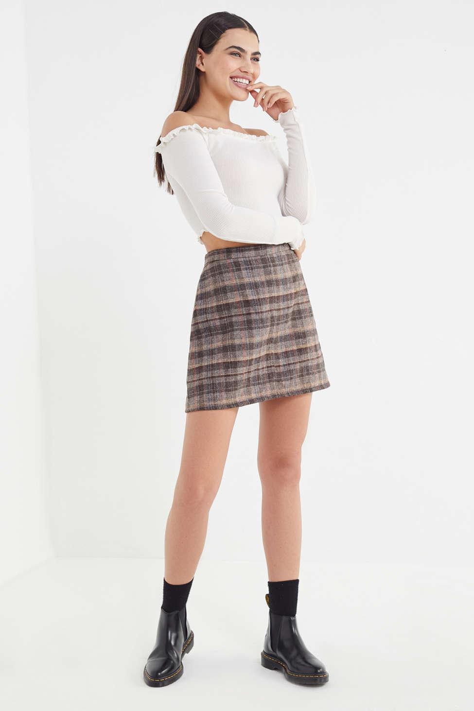 fb593a388 Urban Renewal Vintage Plaid A-line Mini Skirt in Brown - Lyst
