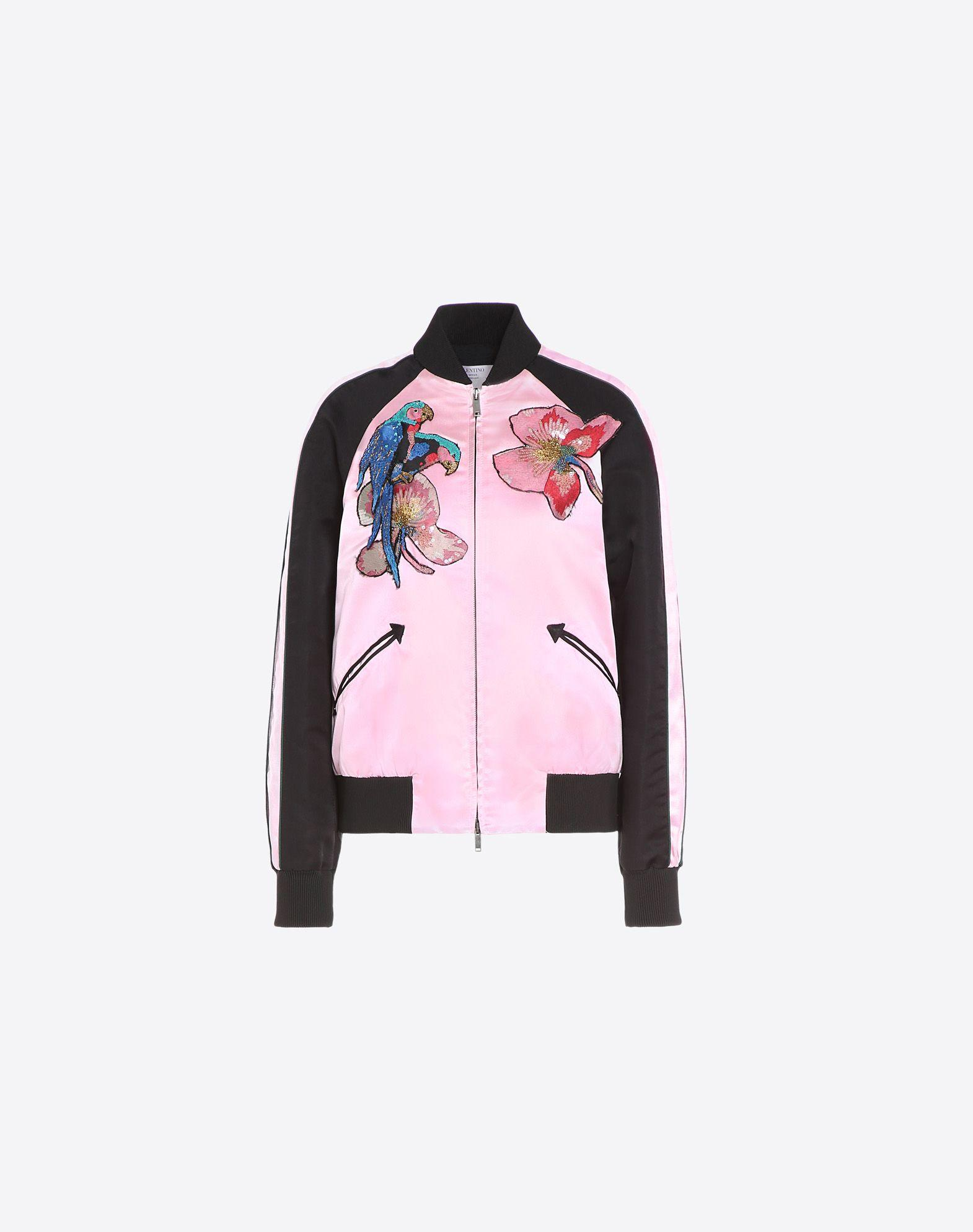 Valentino embroidered varsity jacket in pink lyst