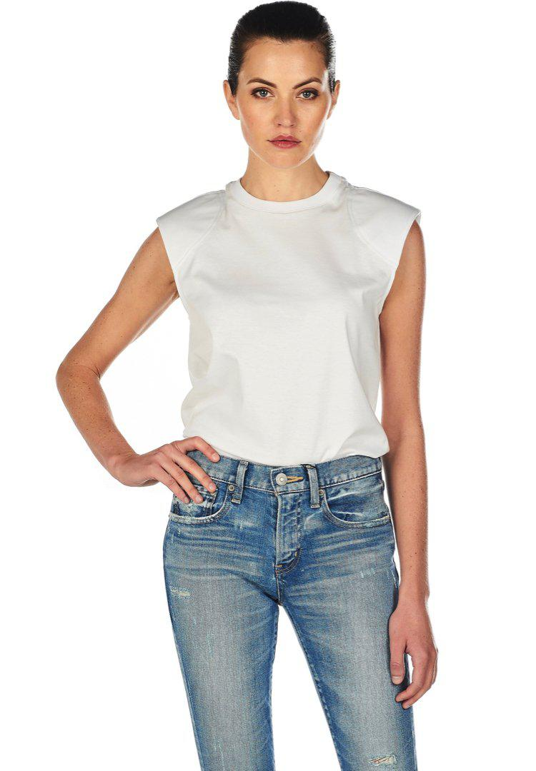 1768189752 Lyst - Tibi Padded Shoulder Top in White