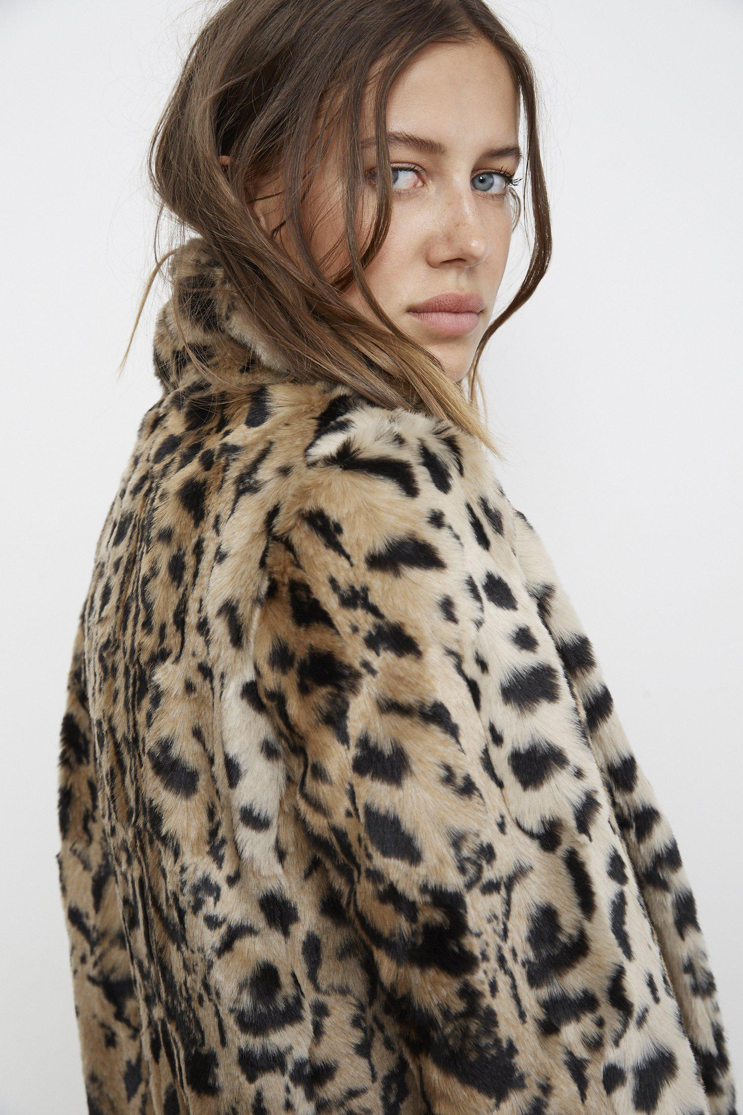 dcd82c52e5a8 Mango Juliana Leopard Print Faux Fur Jacket In Leopard in Brown - Lyst