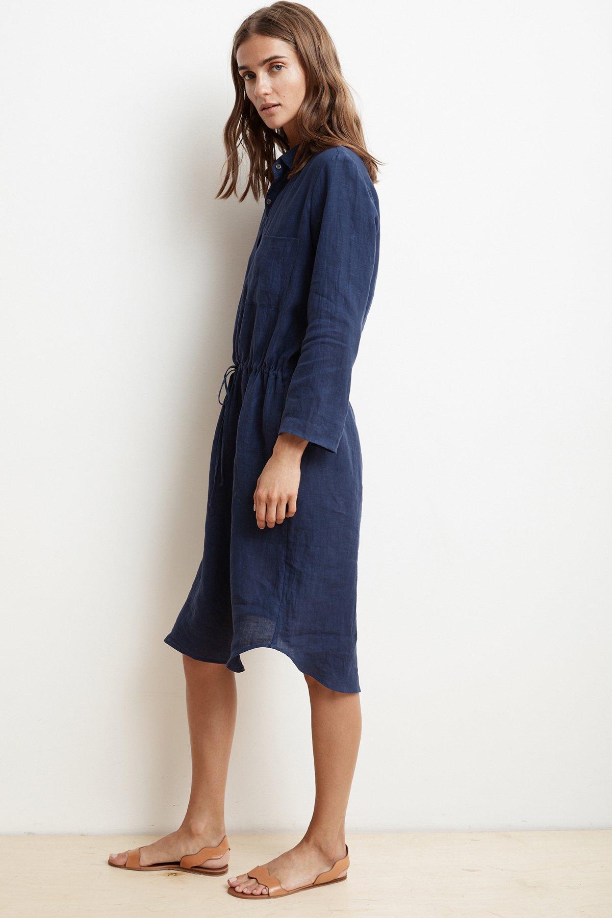 962b3d5e111 Lyst - Velvet By Graham   Spencer Tristana Woven Linen Shirt Dress ...
