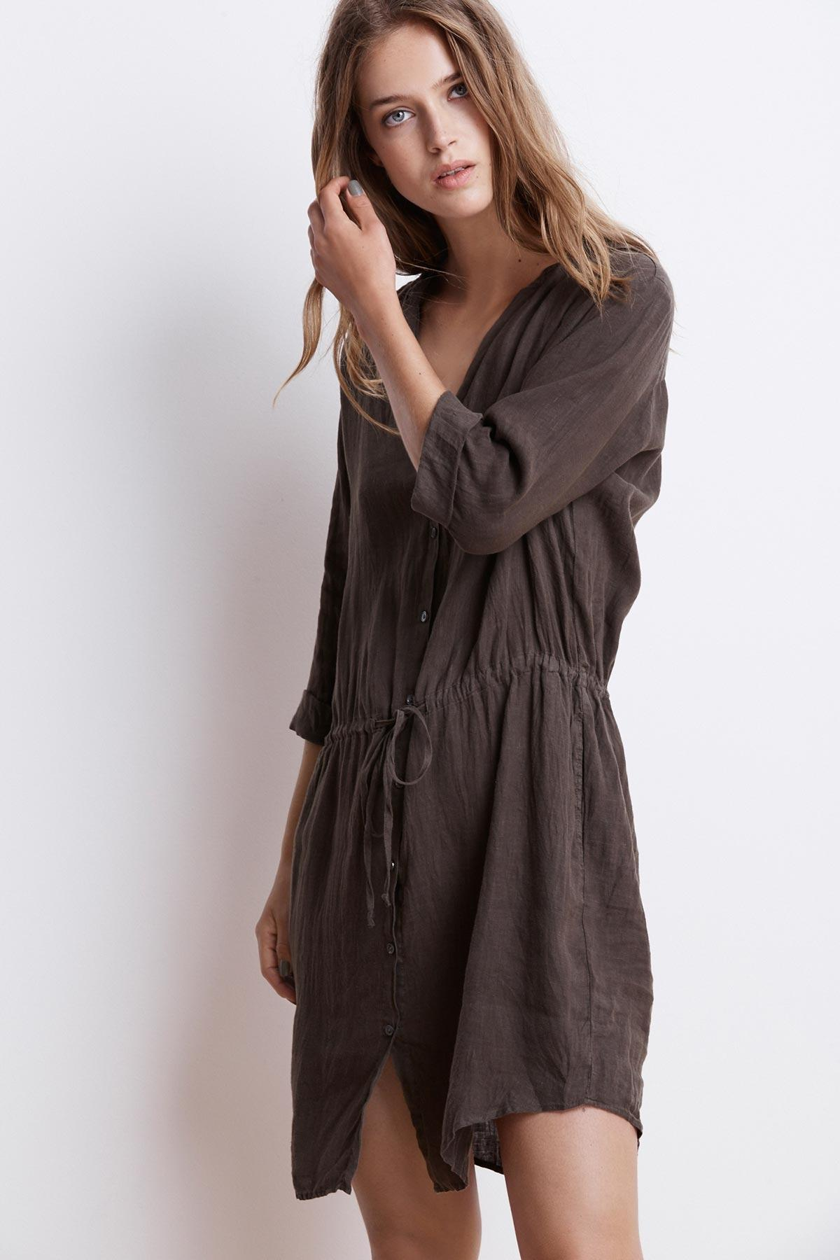aa10c484ee4 Lyst - Velvet By Graham   Spencer Regina Woven Linen Shirt Dress in ...