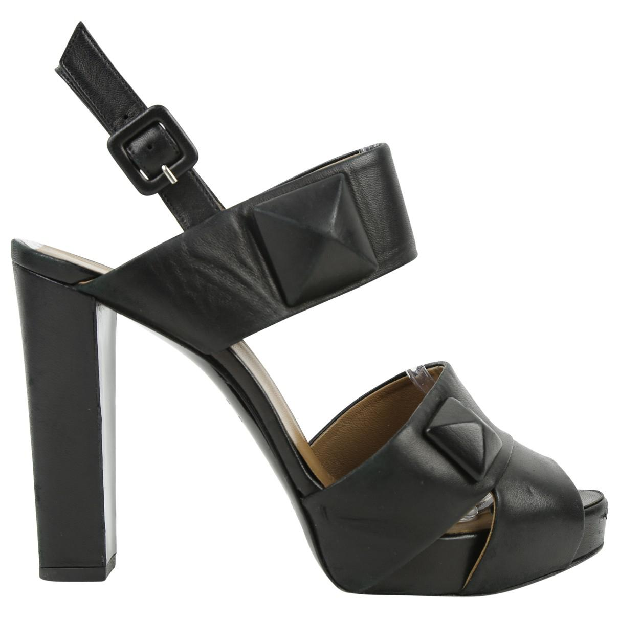Pre-owned - Black Leather Heels Herm 7BzrYy9