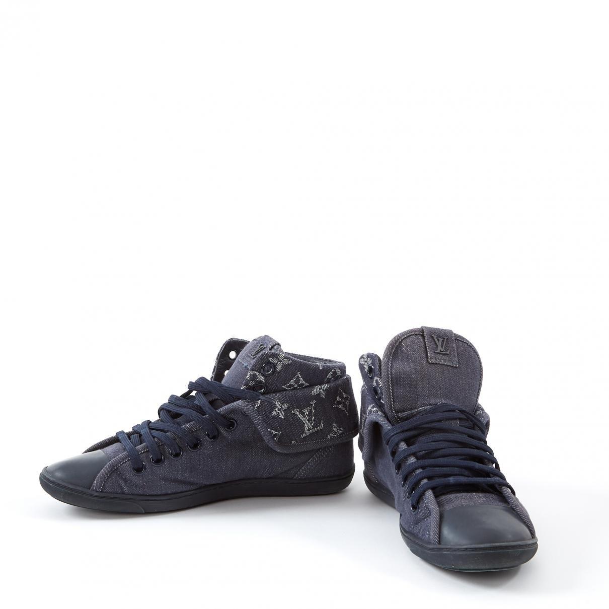 4ad36c727e45 Louis Vuitton - Blue Cloth Trainers - Lyst. View fullscreen