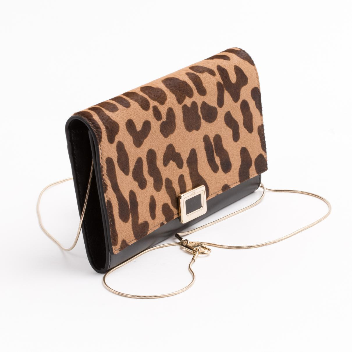 205b1f756856 Roger Vivier - Pre-owned Brown Pony-style Calfskin Clutch Bag - Lyst. View  fullscreen
