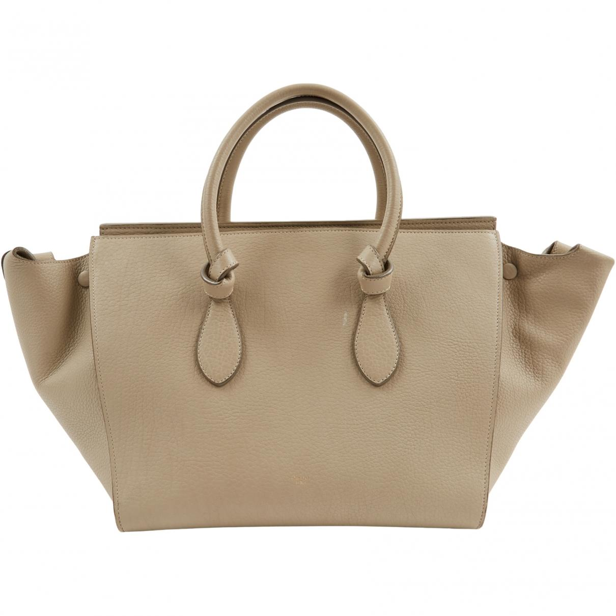 e783625170 Lyst - Céline Tie Beige Leather Handbag in Natural