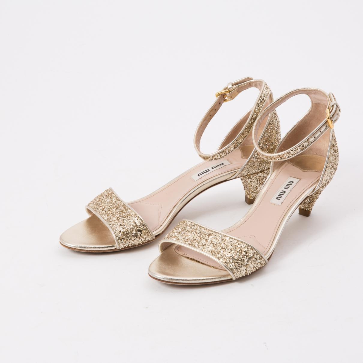 66d79672c7e Miu Miu - Metallic Glitter Sandals - Lyst. View fullscreen