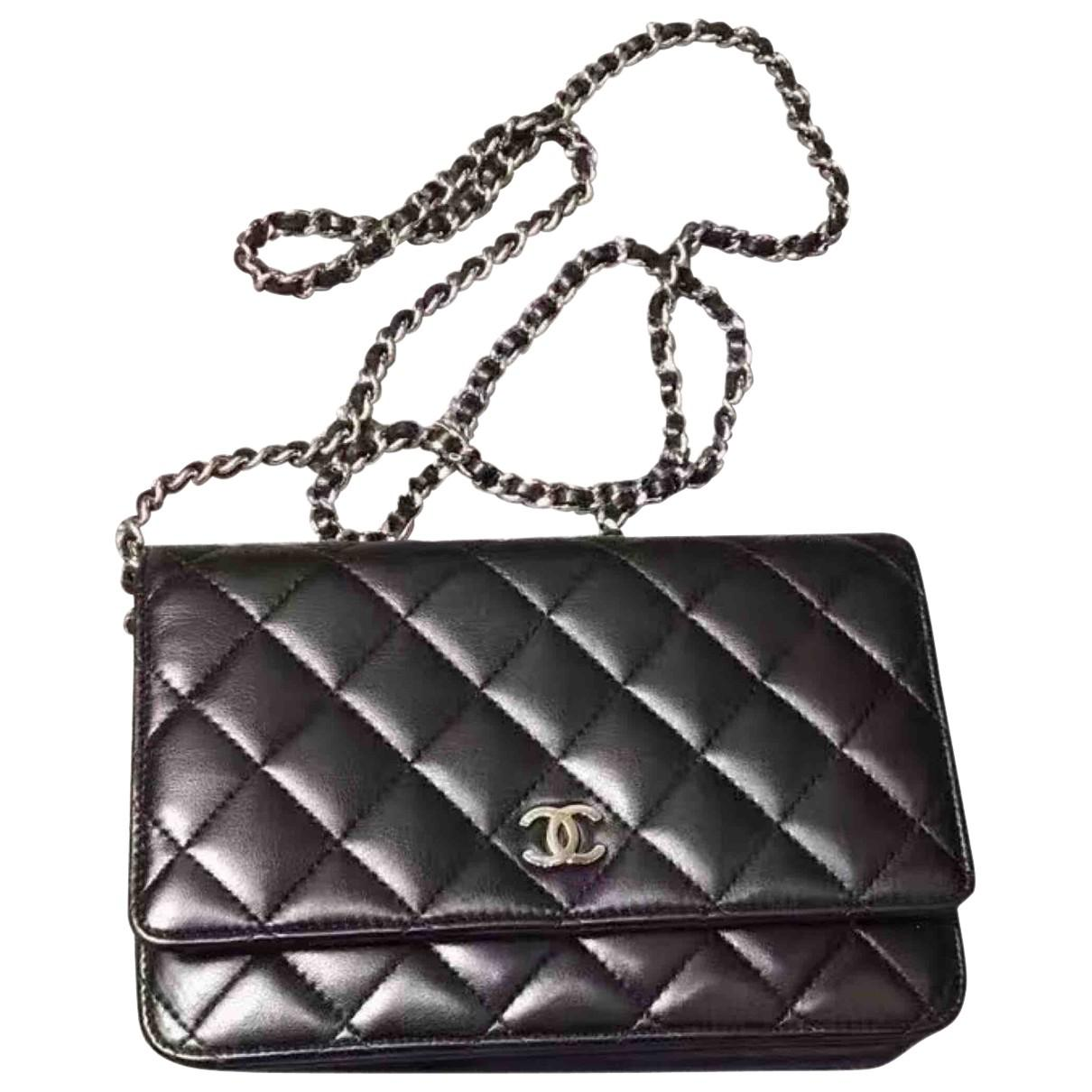 a11044bc5671 Lyst - Chanel Pre-owned Wallet On Chain Leather Crossbody Bag in Black