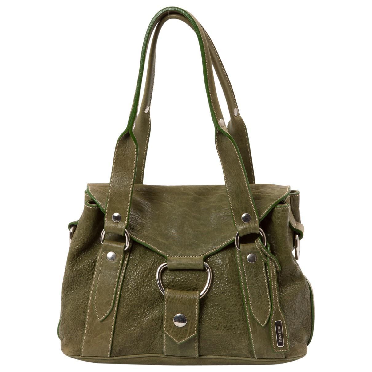 69ffd760cd8 Lyst - Miu Miu Leather Handbag in Green