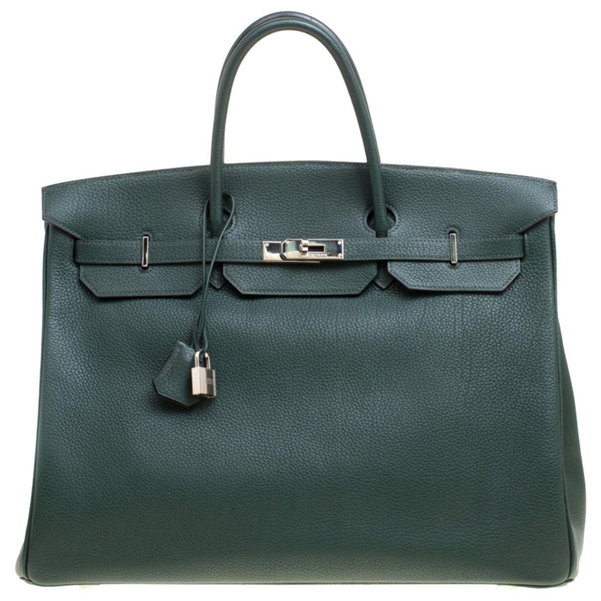 b12d694686 Lyst - Hermès Birkin 40 Green Leather Handbag in Green