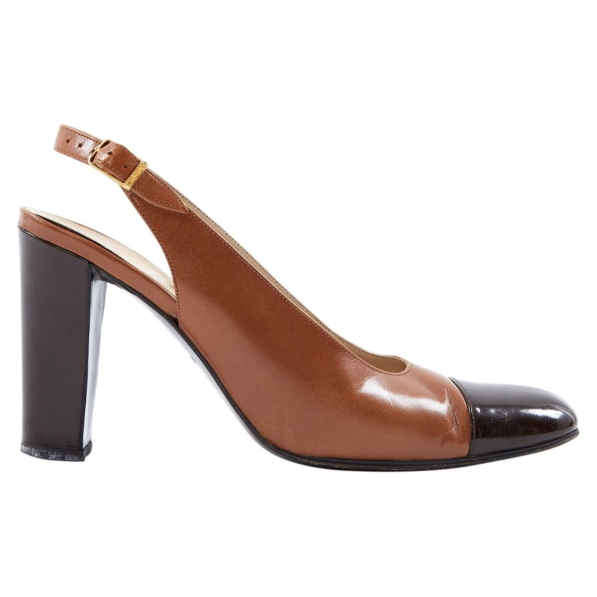 9c86ee9afc8 Chanel. Women s Vintage Slingback Brown Leather Heels. £225 £182 From Vestiaire  Collective