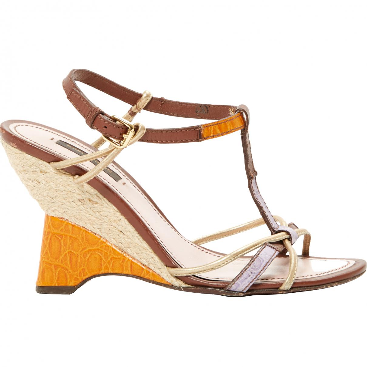 Pre-owned - Orange Leather Sandals Louis Vuitton