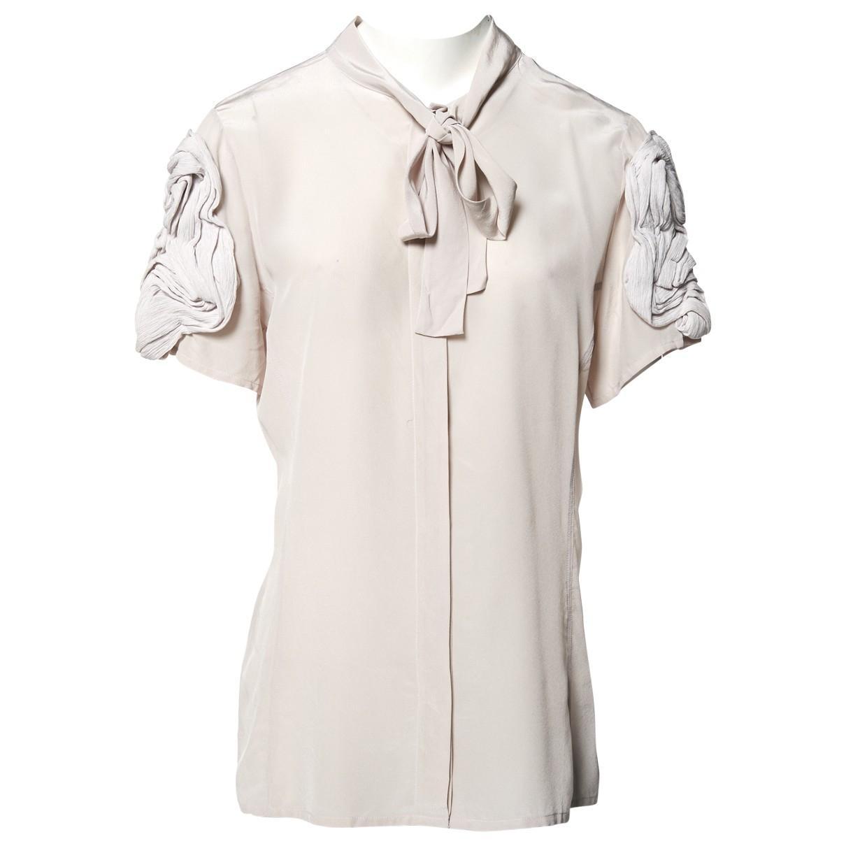 3a423b425fb8b Fendi Silk Shirt in Gray - Lyst