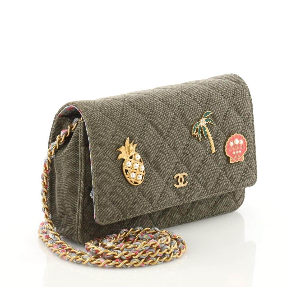 Chanel - Multicolor Pre-owned Wallet On Chain Khaki Cloth Handbags - Lyst.  View fullscreen 65e1034634393