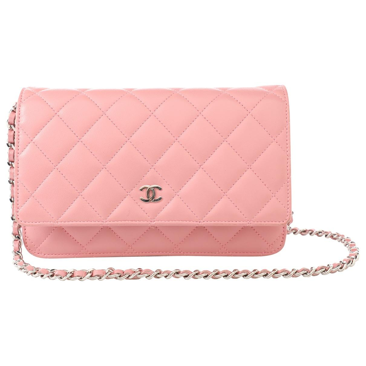 Lyst - Chanel Wallet On Chain Pink Leather Clutch Bag in Pink fa8eb8b510