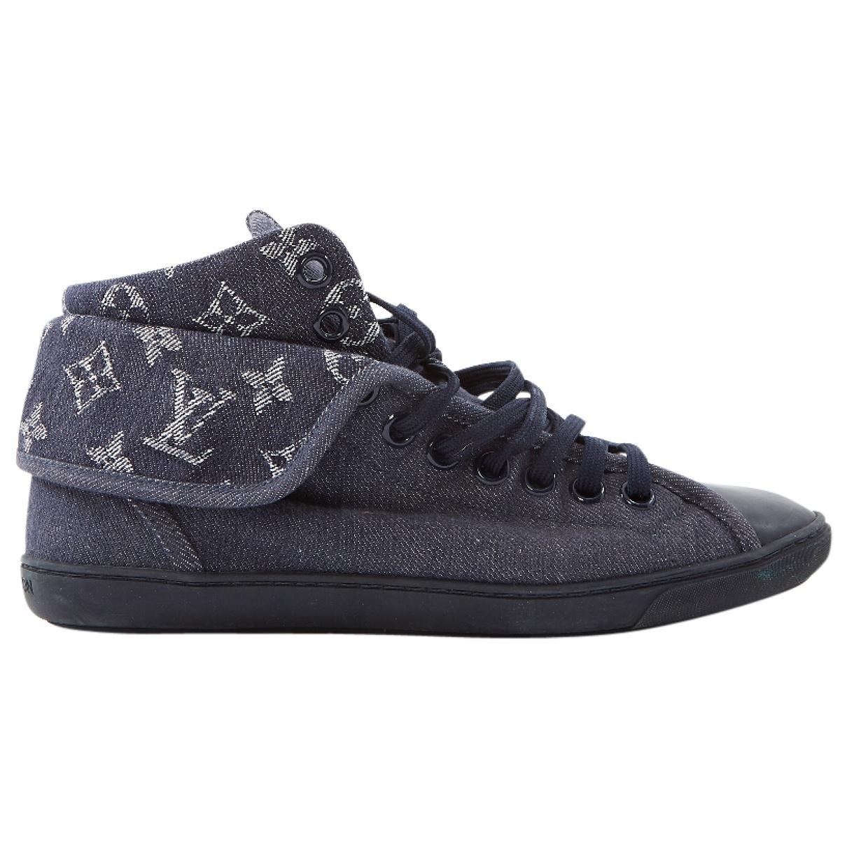 4a0348c6ac49 Lyst - Louis Vuitton Blue Cloth Trainers in Blue
