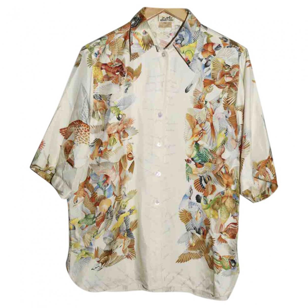 5da6d775ea3 Lyst - Hermès Vintage Multicolour Silk Top in Metallic