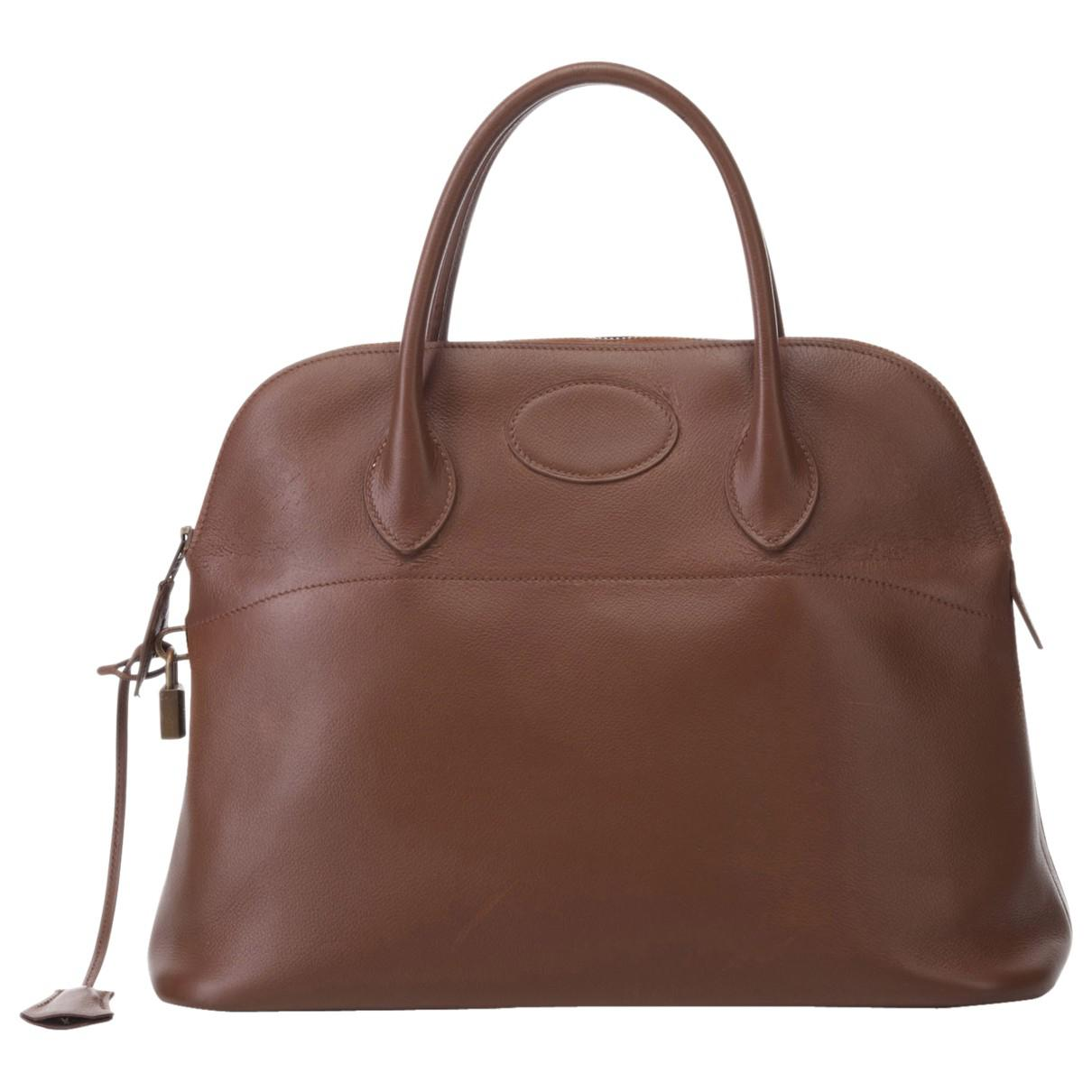 df6a56e8f02e Lyst - Hermès Pre-owned Vintage Bolide Brown Leather Handbags in Brown