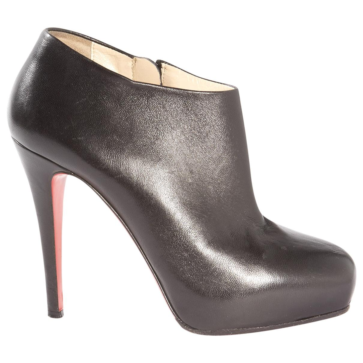 christian louboutin pre owned leather ankle boots in black