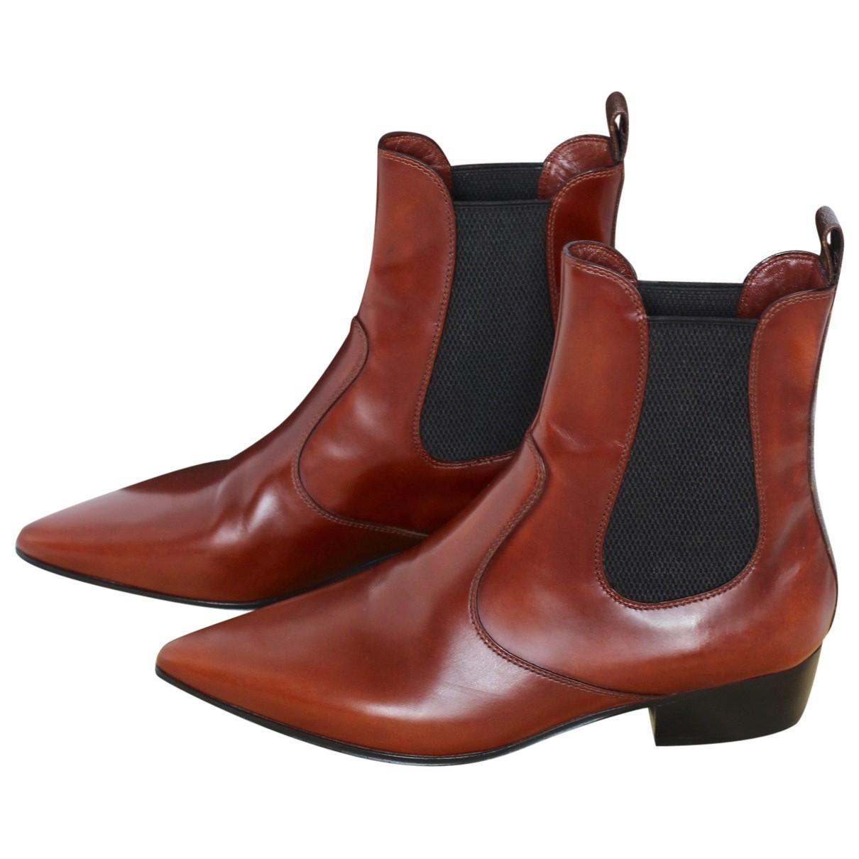 d609270baff6 Lyst - Louis Vuitton Leather Ankle Boots in Brown