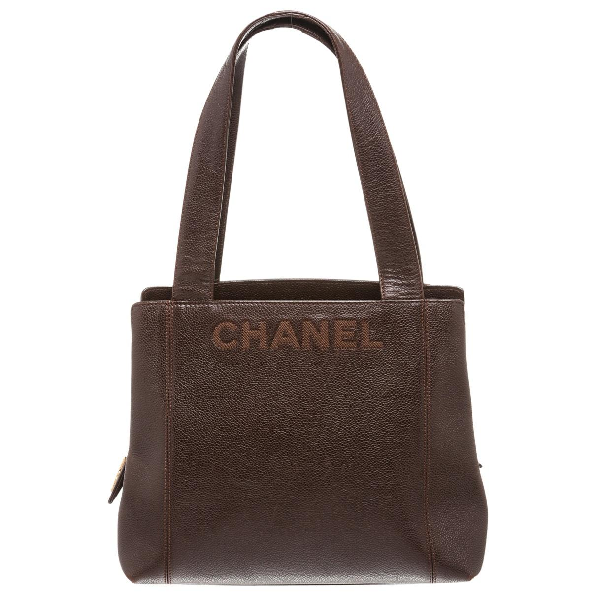 b90d9f063d1a Lyst - Chanel Leather Handbag in Brown