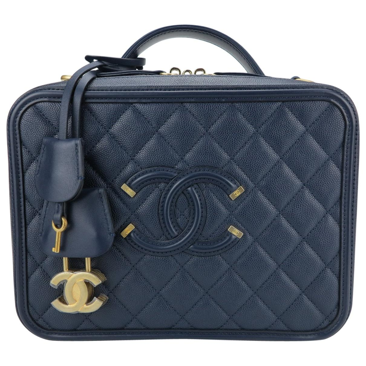 17a4d13dfba7 Chanel. Women s Blue Vanity Navy Leather Handbag. £3