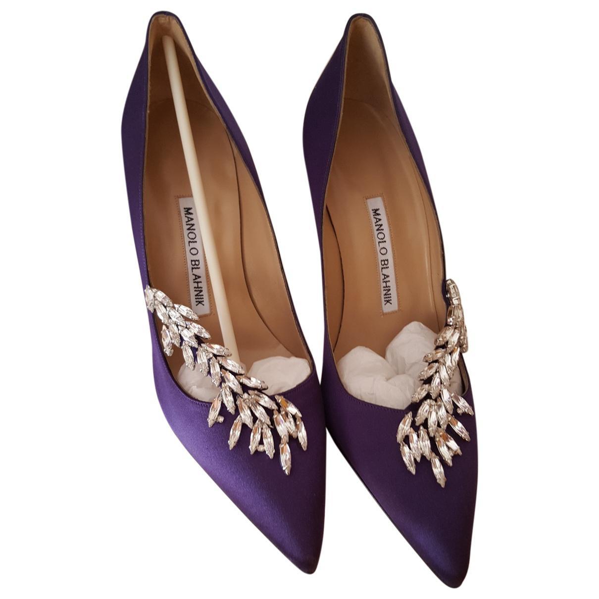 ac83e6a39b8 Lyst - Manolo Blahnik Pre-owned Purple Suede Sandals in Purple