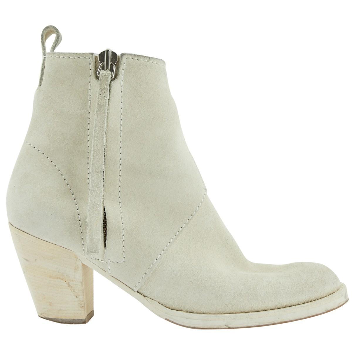 e69f1b38e85a Lyst - Acne Studios Pistol White Suede Ankle Boots in White