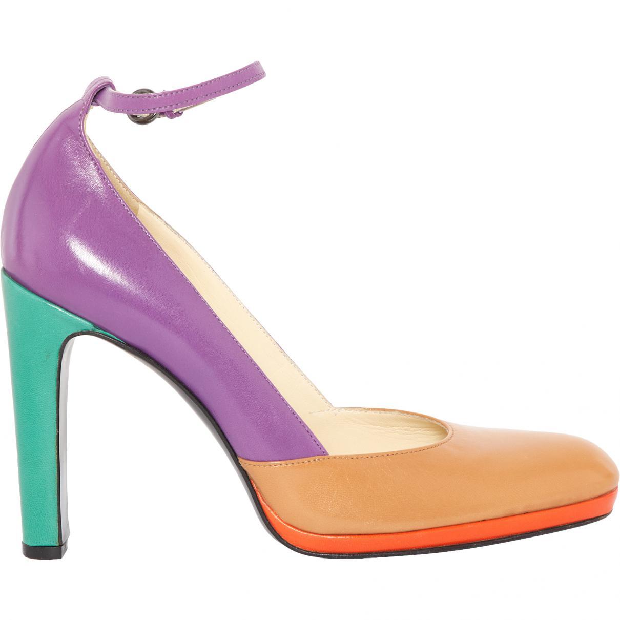 72192b46e495 Lyst - Miu Miu Leather Heels in Pink