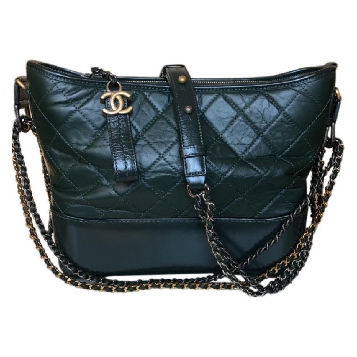 da3cb567cc39 Lyst - Chanel Gabrielle Green Leather Handbag in Green
