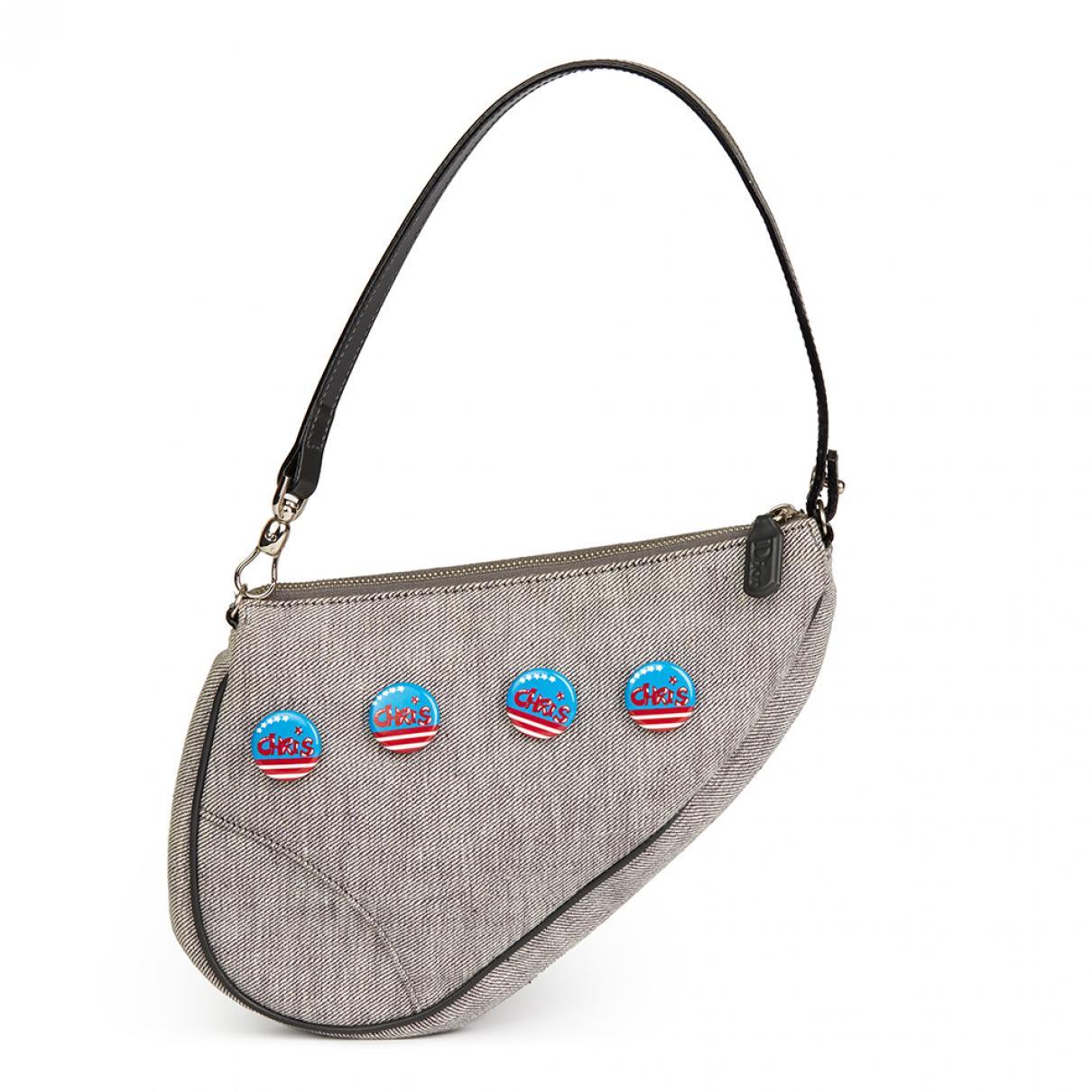 9bffb2355b66 Lyst - Dior Pre-owned Saddle Grey Cloth Handbag in Gray