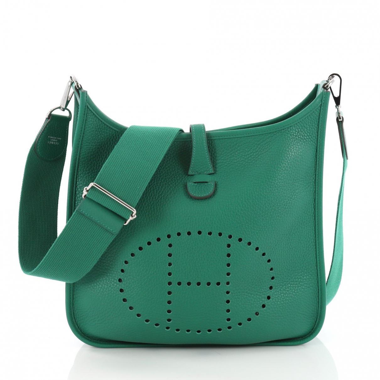 Hermès Evelyne Leather Crossbody Bag in Green - Lyst 8c50ddc73