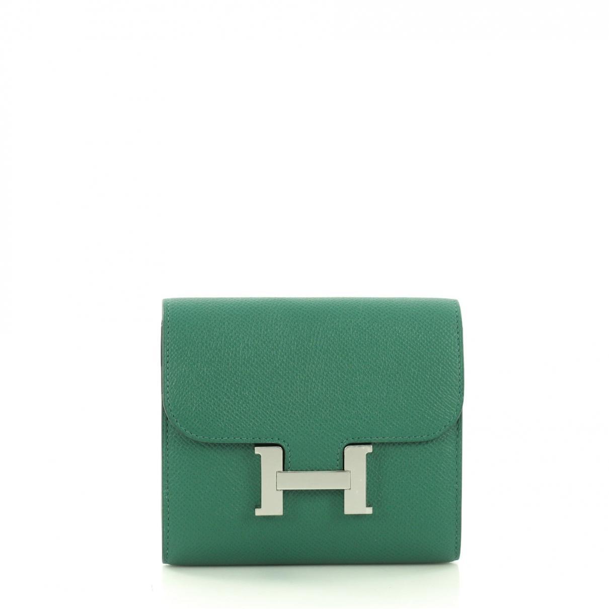 94f92e5ada Lyst - Portefeuille Constance en cuir Hermès en coloris Vert