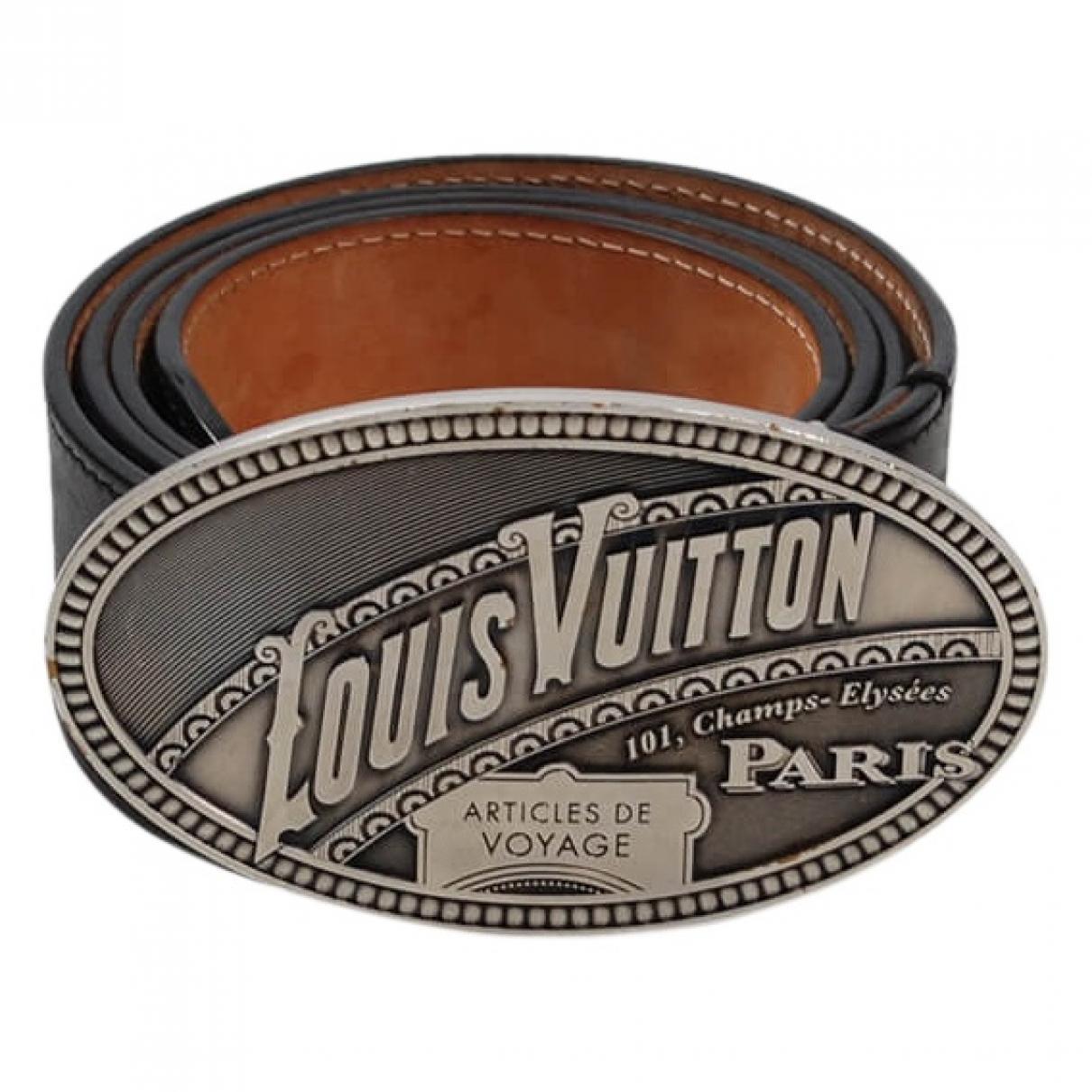 7c0b37416db9 Louis Vuitton Black Leather Belts in Black for Men - Lyst