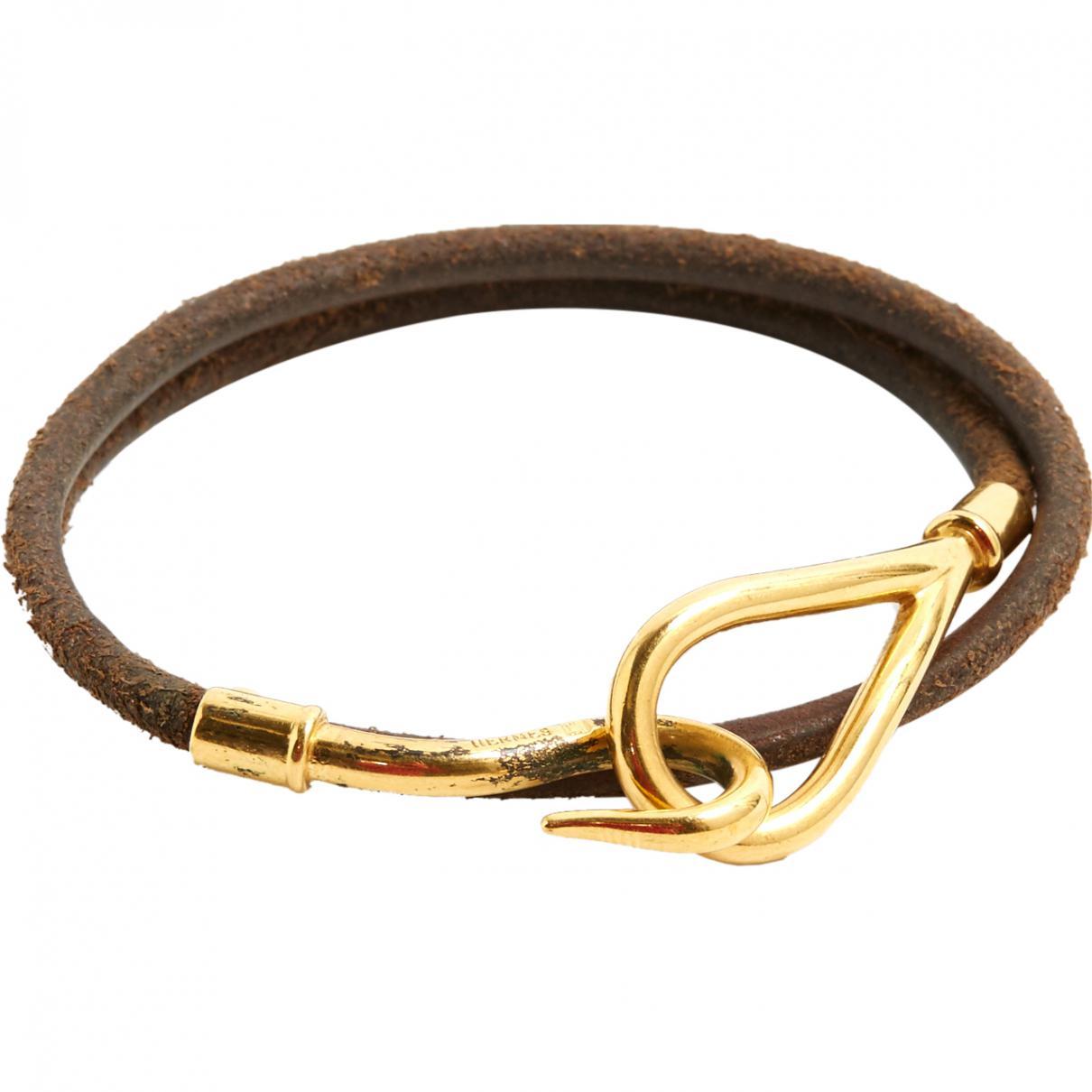 10a1bf8bc34c Lyst - Bracelet Jumbo en cuir Hermès en coloris Marron