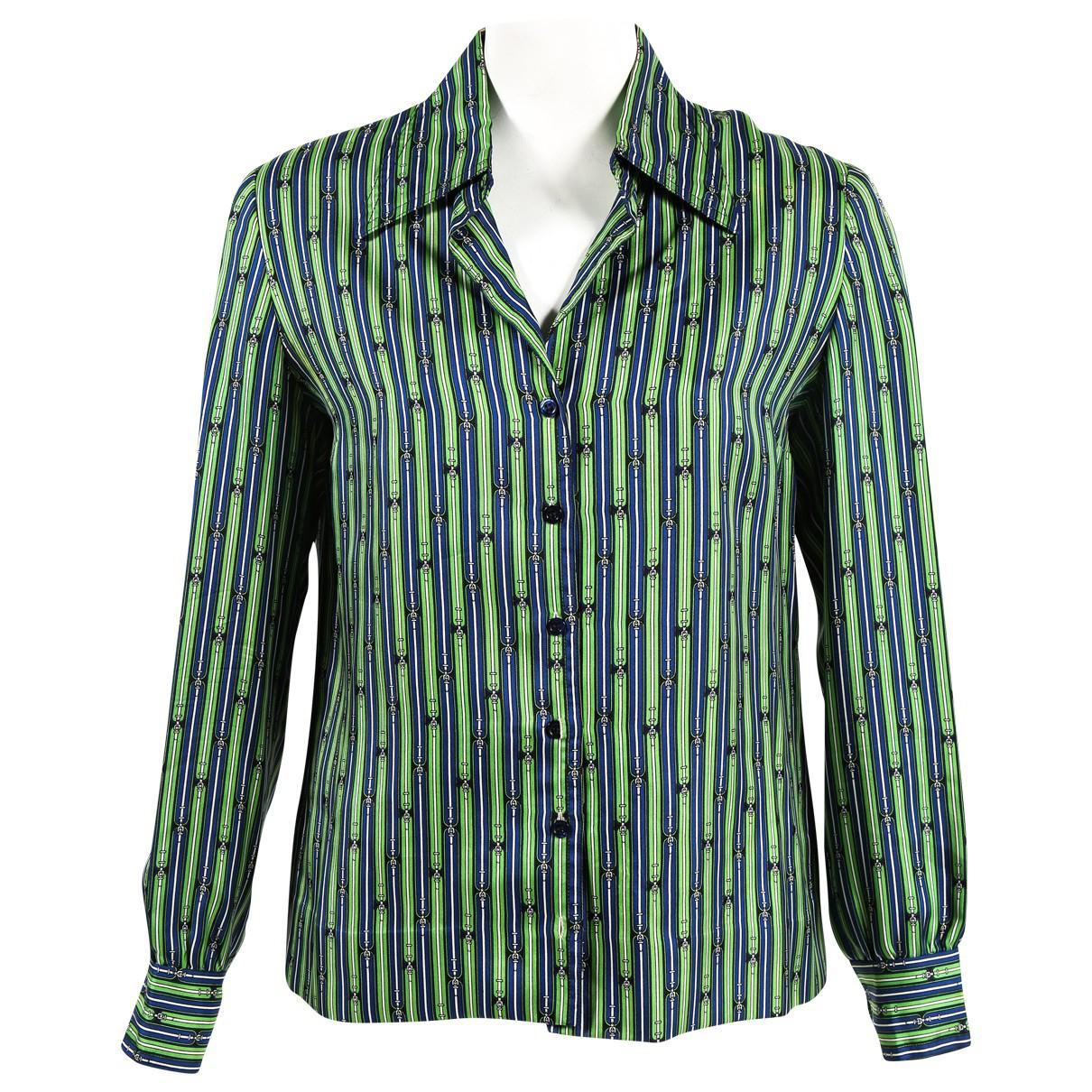 05af5a33b24 Hermès Vintage Blue Silk Top in Blue - Lyst