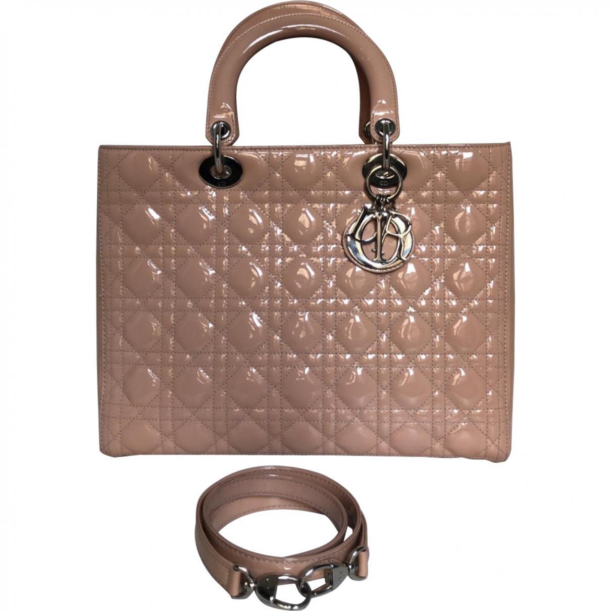 Dior Women S Lady Pink Patent Leather Handbag